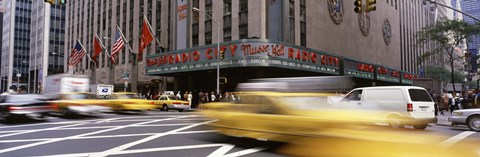 Framed Cars in front of a building, Radio City Music Hall, New York City, New York State, USA Print