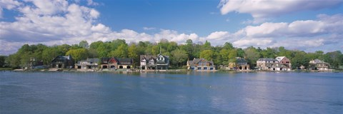 Framed Boathouses near the river, Schuylkill River, Philadelphia, Pennsylvania, USA Print