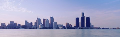 Framed Buildings along waterfront, Detroit, Michigan, USA Print