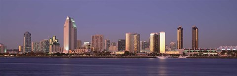 Framed San Diego Skyline, California at dusk Print
