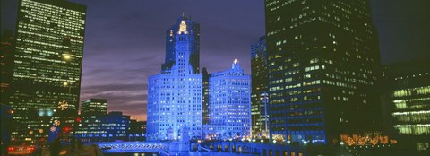 Framed Wrigley Building, Blue Lights, Chicago, Illinois, USA Print