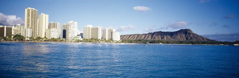Framed Buildings at the waterfront with a volcanic mountain in the background, Honolulu, Oahu, Hawaii, USA Print