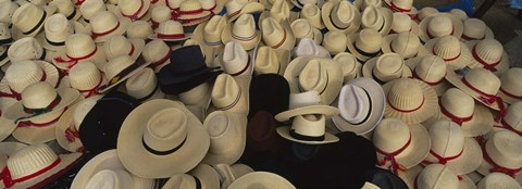 Framed High Angle View Of Hats In A Market Stall, San Francisco El Alto, Guatemala Print