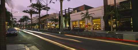 Framed Stores on the roadside, Rodeo Drive, Beverly Hills, California, USA Print