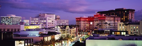 Framed High angle view of buildings in a city, Rodeo Drive, Beverly Hills, California, USA Print