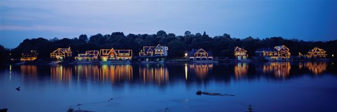 Framed Boathouse Row lit up at dusk, Philadelphia, Pennsylvania Print