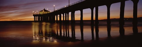 Framed Low angle view of Manhattan Beach Pier, Los Angeles County Print