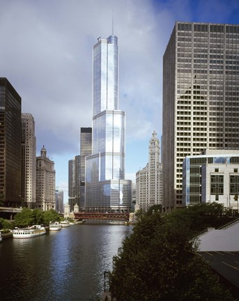 Framed Skyscrapers in a city, Trump Tower, Chicago River, Chicago, Cook County, Illinois, USA Print