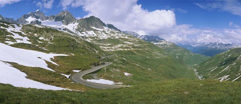 Framed High angle view of a road passing through mountains, Grimsel Pass, Switzerland Print