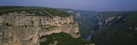 Framed River flowing through a canyon, Ardeche River, Provence, France Print