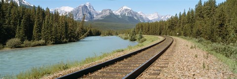 Framed Railroad Tracks Bow River Alberta Canada Print