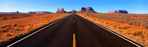 Framed Empty Road, Clouds, Blue Sky, Monument Valley, Utah, USA, Print