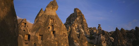 Framed Rock formations on a landscape, Uchisar, Cappadocia, Anatolia, Turkey Print