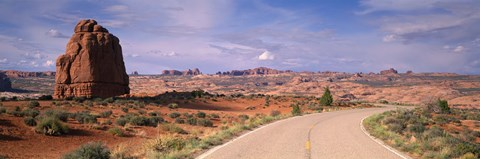 Framed Road Courthouse Towers Arches National Park Moab UT USA Print