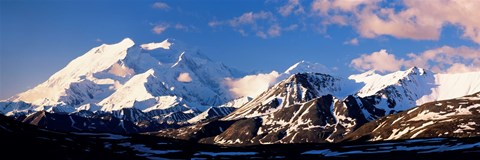 Framed Mountain covered with snow, Alaska Range, Denali National Park, Alaska, USA Print
