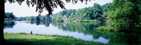 Framed Stourhead Garden Lake and pavillion, England, United Kingdom Print
