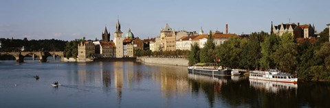 Framed Buildings at the waterfront, Prague, Czech Republic Print