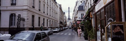 Framed Buildings along a street with the Eiffel Tower in the background, Paris, France Print
