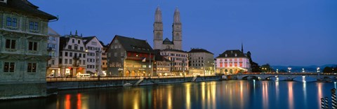 Framed Buildings at the waterfront, Grossmunster Cathedral, Zurich, Switzerland Print