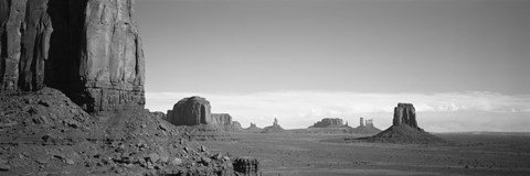 Framed Rock Formations, Monument Valley, Arizona, USA (black & white) Print