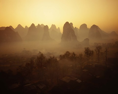 Framed Sunrise in Mountains Guilin China Print