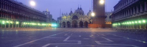 Framed Street lights lit up in front of a cathedral at sunrise, St. Mark's Cathedral, St. Mark's Square, Venice, Veneto, Italy Print