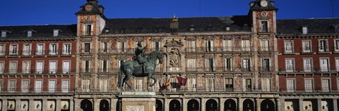Framed Statue In Front Of A Building, Plaza Mayor, Madrid, Spain Print