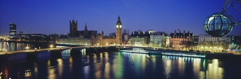 Framed Buildings lit up at dusk, Big Ben, Houses Of Parliament, Thames River, London, England Print