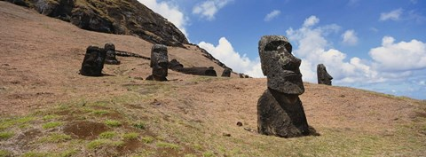 Framed Close Up of Moai statues, Easter Island, Chile Print