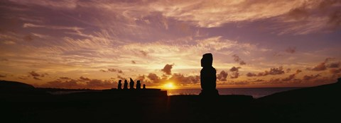 Framed Silhouette of Moai statues at dusk, Tahai Archaeological Site, Rano Raraku, Easter Island, Chile Print
