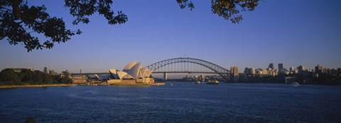 Framed Bridge over water, Sydney Opera House, Sydney, New South Wales, Australia Print