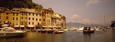 Framed Boats in a canal, Portofino, Italy Print