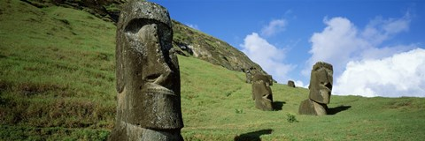 Framed Stone Heads, Easter Islands, Chile Print