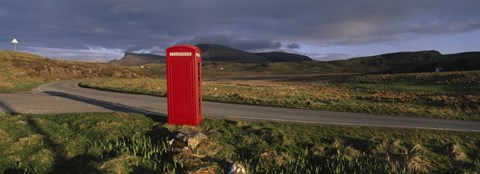Framed Telephone Booth In A Landscape, Isle Of Skye, Highlands, Scotland, United Kingdom Print