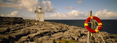Framed Lighthouse on a landscape, Blackhead Lighthouse, The Burren, County Clare, Republic Of Ireland Print