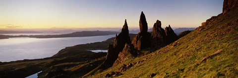 Framed Rock formations on the coast, Old Man of Storr, Trotternish, Isle of Skye, Scotland Print