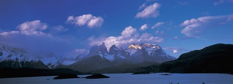 Framed Cloud over mountains, Towers of Paine, Torres del Paine National Park, Patagonia, Chile Print
