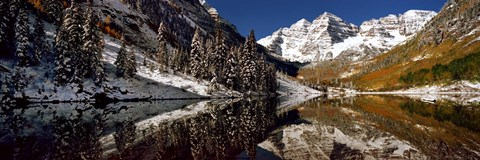 Framed Reflection of snowy mountains in the lake, Maroon Bells, Elk Mountains, Colorado, USA Print