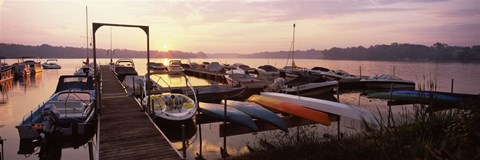 Framed Boats in a lake at sunset, Lake Champlain, Vermont, USA Print