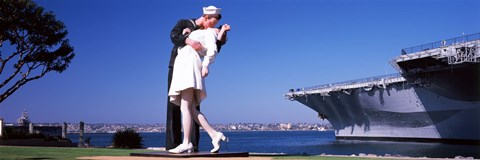 Framed Kiss between sailor and nurse sculpture, Unconditional Surrender, San Diego Aircraft Carrier Museum, San Diego, California, USA Print