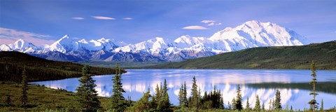 Framed Snow Covered Mountains, Mountain Range, Wonder Lake, Denali National Park, Alaska, USA Print