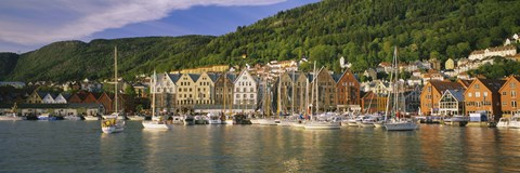 Framed Boats in a river, Bergen, Hordaland, Norway Print
