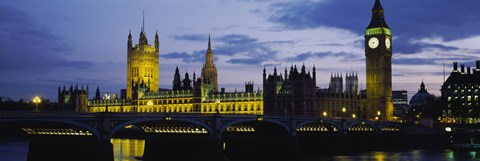 Framed Government Building Lit Up At Night, Big Ben And The Houses Of Parliament, London, England, United Kingdom Print