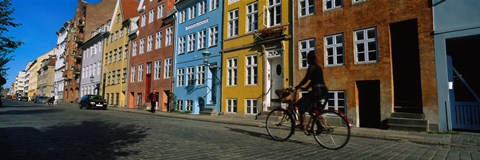 Framed Woman Riding A Bicycle, Copenhagen, Denmark Print