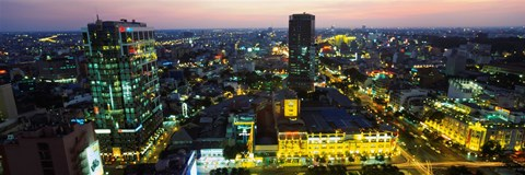 Framed High angle view of a city lit up at night, Ho Chi Minh City, Vietnam Print