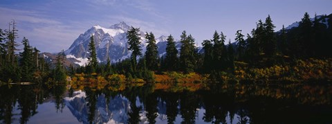 Framed Reflection of trees and mountains in a lake, Mount Shuksan, North Cascades National Park, Washington State Print