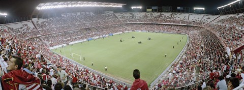 Framed Crowd in a stadium, Sevilla FC, Estadio Ramon Sanchez Pizjuan, Seville, Seville Province, Andalusia, Spain Print