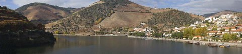 Framed Village at the waterfront, Pinhao, Duoro River, Cima Corgo, Douro Valley, Portugal Print
