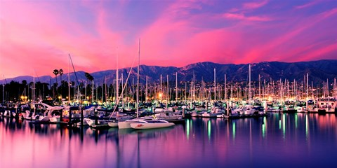 Framed Boats moored in harbor at sunset, Santa Barbara Harbor, Santa Barbara County, California, USA Print