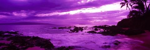 Purple Sunset Over The Coast Makena Beach Maui Hawaii